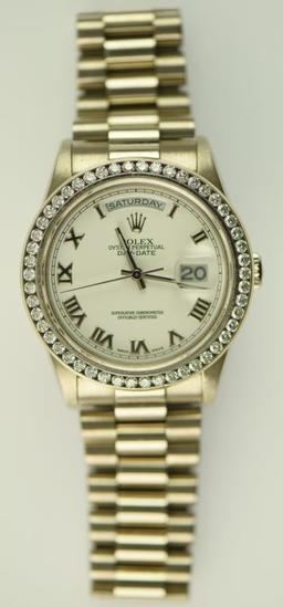 Lot #3 - 18K White Gold Men's Rolex Presidential Wrist Watch with Roman Numeral Dial with Custom