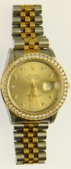 Lot #6 - 18K Yellow Gold/Stainless Men's Rolex with Champagne Diamond dial & Diamond Bezel.