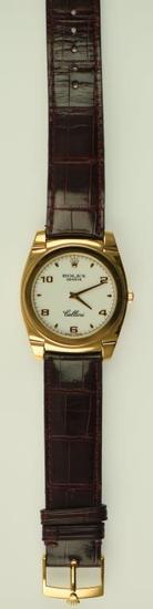Lot #8 - 18K Rose Gold Men's Rolex Cellini Cestello style wrist watch with Manual Movement. 18K