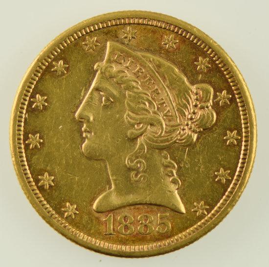 Lot #15 - 1885-S $5 Half Eagle Gold Coin