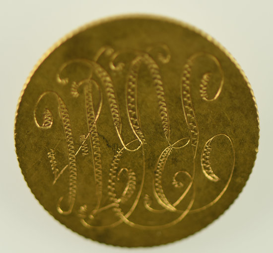 Lot #17 - 1881 $5 Gold Coin made into a Love Pin . Head is readable. Pin has been soldered on.