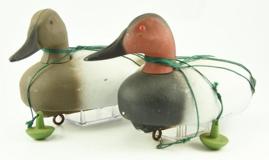 Lot #302 - One dozen Styrofoam Canvasback decoys (6) Drakes and (6) Hens all rigged with line