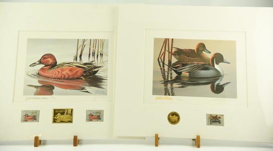 Lot #304 - 1985-86 Federal Duck Stamp Print Gold Medallion Edition and 1983-84 Federal Migratory