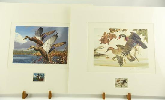 Lot #312 -1984 Maine Migratory Waterfowl Stamp print by David Maas, 1982 Ohio Wetlands Habitat