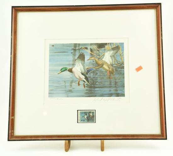 Lot #313 - 1983 North Carolina Waterfowl Conservation Stamp print framed and matted
