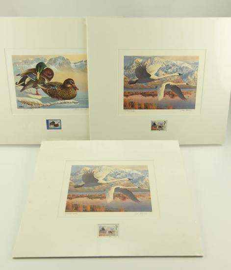 Lot #318 -1986 Washington Waterfowl Stamp print by Keith Warnick, (2) Utah 1986 Migratory
