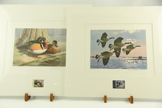 Lot #320 - 1985 Georgia Waterfowl stamp print by Daniel Smith and 1985 New York Migratory Bird