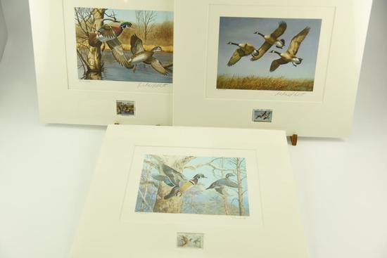 Lot #321 - 1983 New Hampshire Duck Stamp print by Richard Plasschaert, 1982 North Dakota Duck