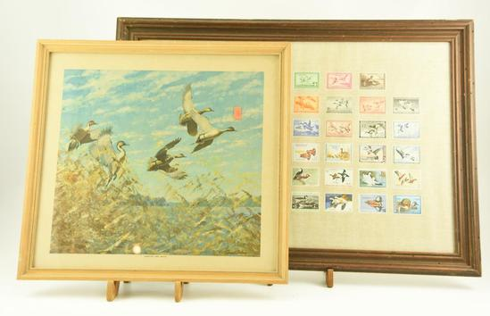 """Lot #324 -""""Around the Bend"""" framed print by Richard Bishop, and Framed Duck stamp print"""