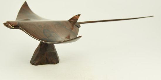 """Lot #308A -Carved Ironwood/Mahogany stingray 14"""" wide with 16"""" tail"""