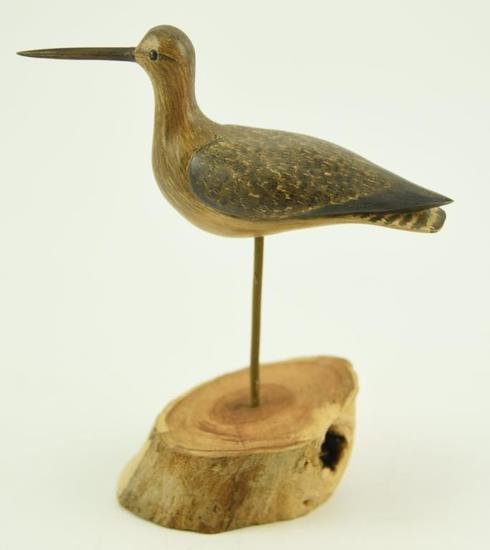 Lot #357 -Carved Willet by Walter S. Johnson signed on underside (from the Mort Kramer Collection)