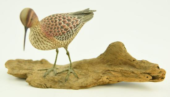 Lot #360 -Paul Nock Salisbury, MD Stilt Sand piper on driftwood signed and dated 1973 (from the