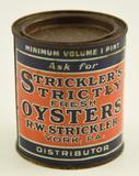 Lot #405 -Vintage R.W. Strickler, York, PA Strickler's Strictly Fresh from Crisfield 1 pint