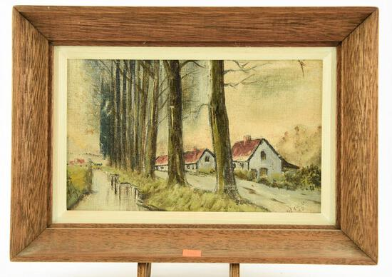 Lot # 4580 - Framed oil on board Street Scape signed and dated 1948 This painting is attributed