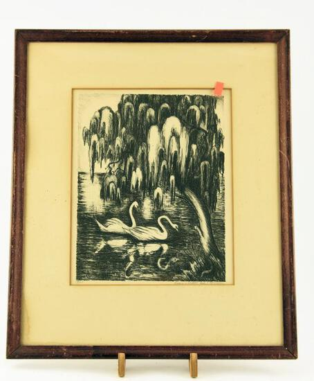 "Lot # 4591 - ""Swans and Willow"" framed black and white lithograph signed and numbered Lily S."