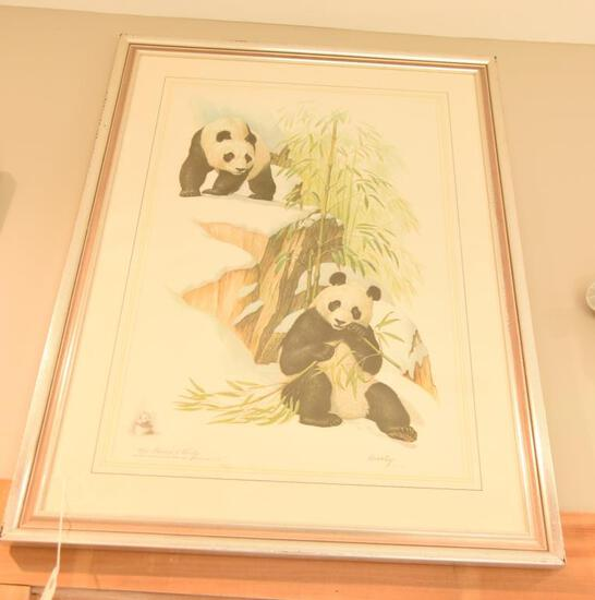 "Lot # 4035 -  ""Giant Pandas"" print from an oil painting by Edward J. Bierly and published for"