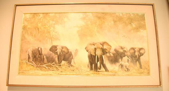 "Lot # 4036 -  ""Elephants at Amboseli"" print by David Shepherd. Has been professionally framed"