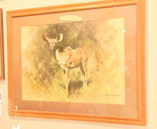 "Lot # 4037 - ""Kudu"" print by David Shepherd printed for Sportsman's Edge Ltd. Has Sportsman's"