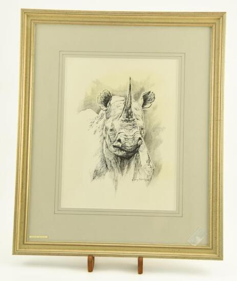 "Lot # 4038 - Ink drawing by Larry Norton titled ""Black Rhino"". Signed and dated Larry Norton 89."