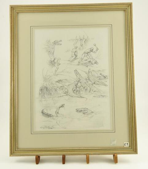 Lot # 4039 - Pencil sketch by Larry Norton depicting an African tribal scene with alligators,