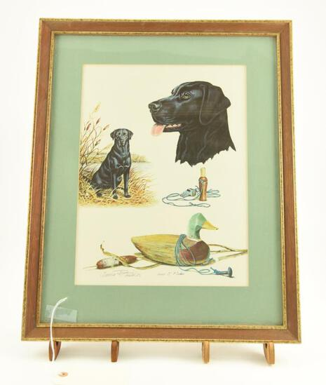 Lot # 4041 - Print w/ hunting related scenes by James P. Fisher. Depicts a black lab, a duck