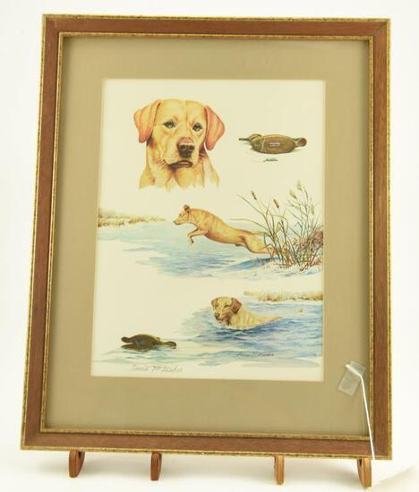 Lot # 4042 - Print w/ hunting related scenes by James P. Fisher. Depicts a yellow lab retrieving