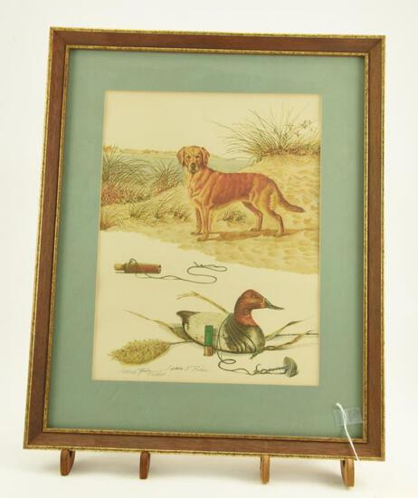 Lot # 4043 - Print w/ hunting related scenes by James P. Fisher. Depicts a golden retriever, a