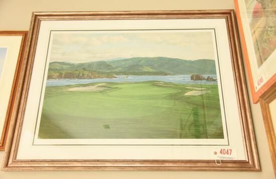 "Lot # 4047 - ""17th at Pebble Beach"" serigraph by Linda Hartough. Measures 35 1/4"" x 46"". Signed"