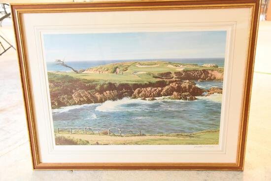 "Lot # 4048 - ""The 16th Green, Cyress Point"" limited edition print by Arthur Weaver published in"