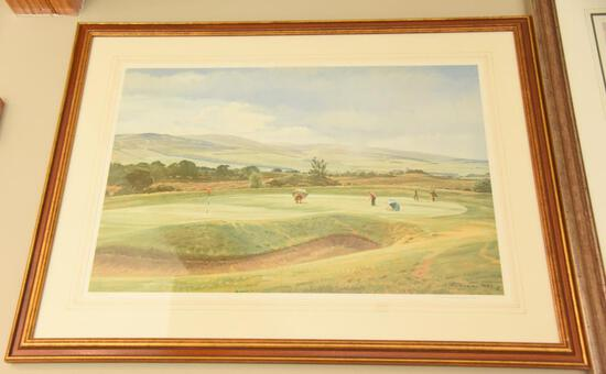 "Lot # 4049 - ""6th Green, King's Course- Gleneagles"" limited edition print by Arthur Weaver"