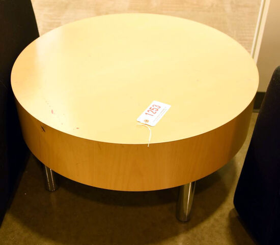 "Lot #1253 - Maple Veneer cylinder top table with chrome legs (30"" x 16"")"