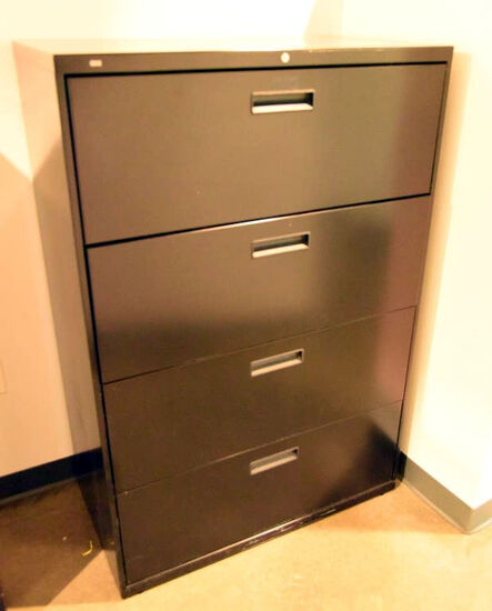 "Lot #1261 - Hon Commercial four drawer vertical file cabinet in black matte finish (53"" x 36"" x 19"")"