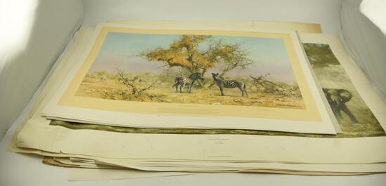 "(8) Kudu Prints by David Sheppard, (5) ""Zebra s and Colony Weavers"" by David Sheppard, (2)"