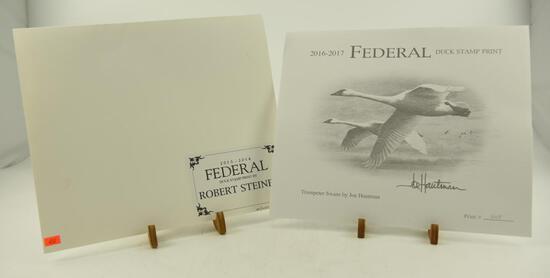 (5) 2013-2014 Federal Duck Stamp prints by Robert Steiner unframed in original folders (3) 2016