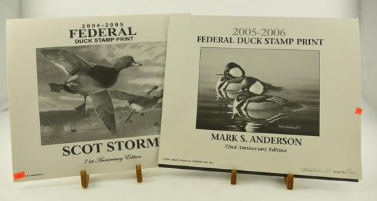 (2) 2004 Federal Duck Stamp prints 71st Anniversary Edition by Scot Storm, (3) 2005-2006 Federal