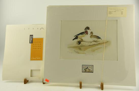 (2) Initial Alabama State Duck Stamp prints by Barbara Keel both matted with original stamp,