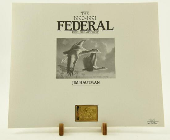 (4) 1990-91 Federal Duck Stamp print medallion editions by Jim Hautman (all in original folders