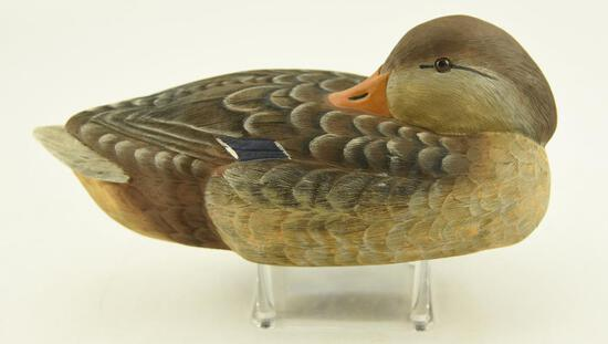Preening Resin Mallard Hen Decoy signed and dated Renaldo 6-11-86