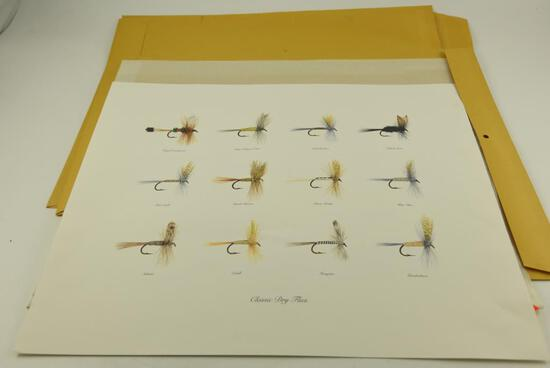 "Unframed print of ""Classic Dry Flies"", (12) unframed prints of hunting dogs by Strasser"