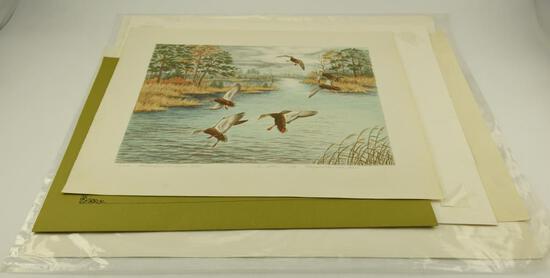 "(1) Print of Wild Turkeys by J.F. Landenburger 18"" x 24"", ""Black Ducks at Davis Creek"" by"