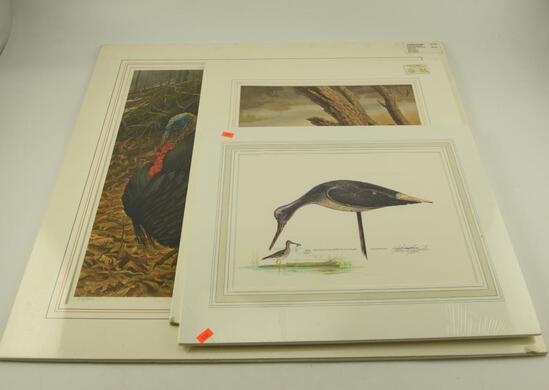 "(1)  matted print Massachusetts Duck stamp Yellowleg by John Reggert 298/400 16"" x 18"", (1)"