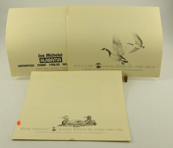 (2) 1982 Alabama Waterfowl Stamp prints by Wayne Spradley, 1981-82 Alabama Waterfowl Stamp print