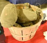 (7) Vintage canvas feeder bag decoys in bushel basket