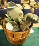 Bushel basket full of vintage decoys to include: Seaducktor vintage motorized decoy, Pintails,