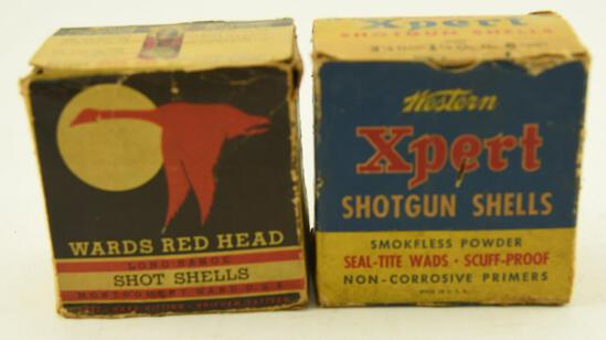 """Vintage Western XPert 12 gauge 2 5/8"""" Shotgun shell box with (4) shells and Vintage Wards Redhead"""