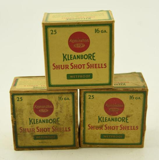 "(3) Full boxes of Vintage Kleanbore Shurshot Shells 16 gauge 2 ¾"" (75 shells total)"