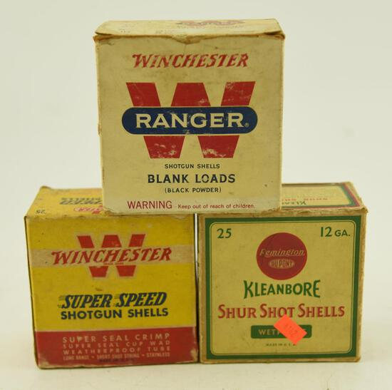 Box of Winchester 10 gauge blanks loads, Partial box of Winchester Super Speed 12 gauge, and