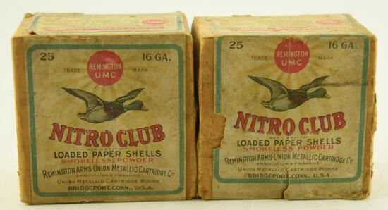 (2) Vintage boxes of Remington UMC Nitro Club 16 gauge loaded paper shotgun shells both boxes