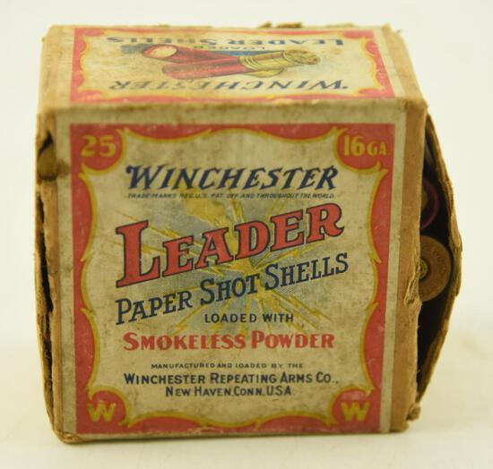 Vintage Box of Winchester 16 gauge Paper Shotgun shells unopened (25 shells total)