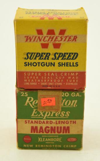 (2) Vintage 20 gauge shotgun shell boxes with approximately 14 shotgun shells